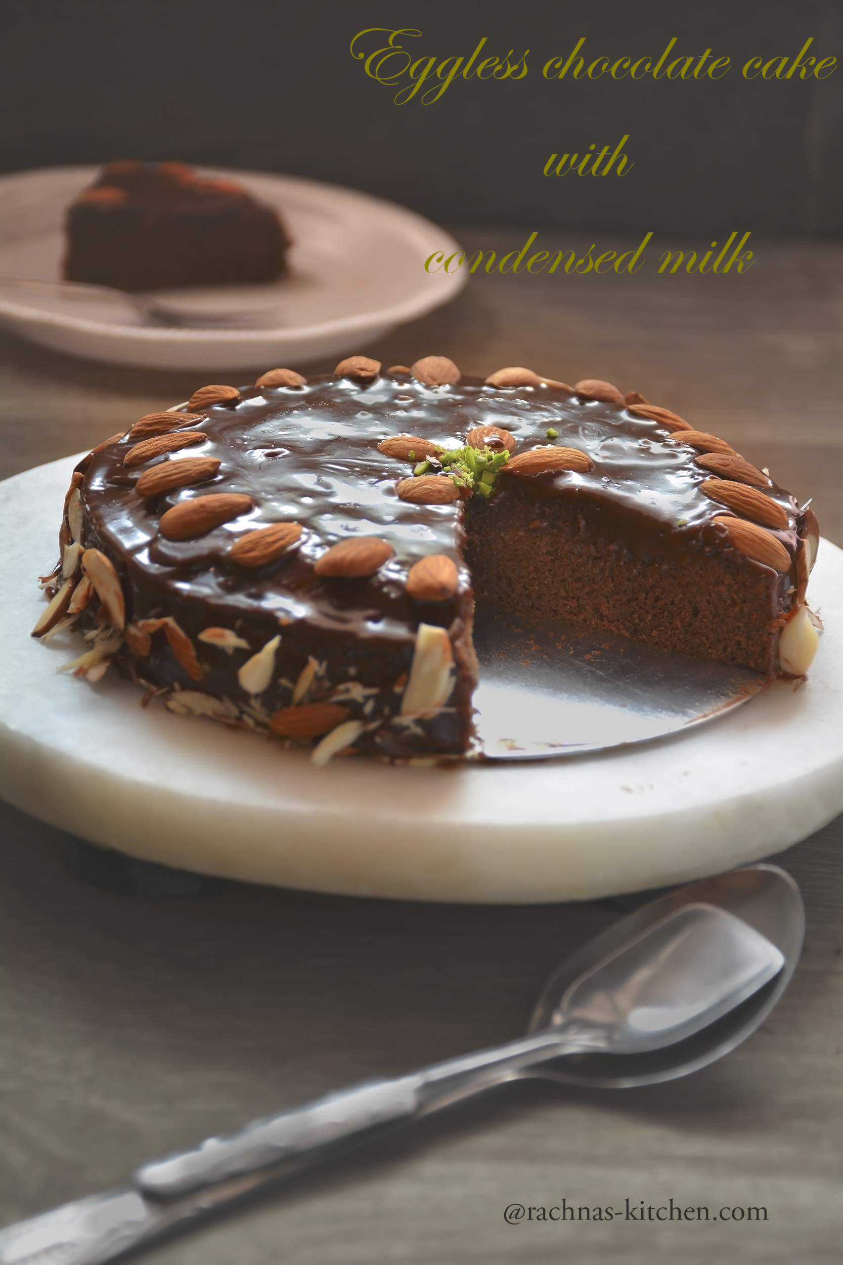 eggless almond chocolate cake with condensed milk