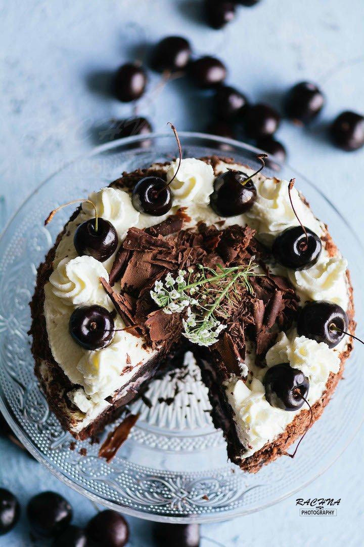 Eggless black forest cake