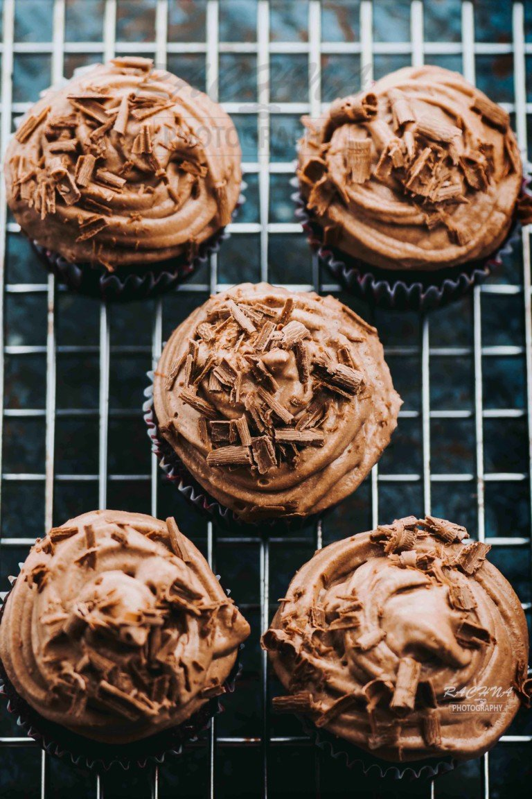 Eggless Chocolate Cupcakes with chocolate frosting